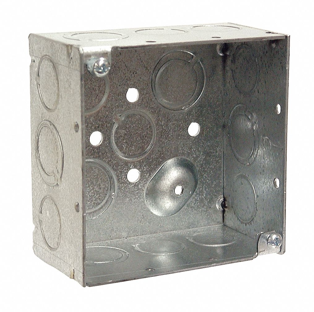 Electrical Box,  Square,  Number of Gangs 2,  Galvanized Zinc,  2 1/8 in Nominal Depth