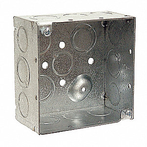 "Electrical Box, Galvanized Zinc, 2-1/8"" Nominal Depth, 4"" Nominal Width, 4"" Nominal Length"