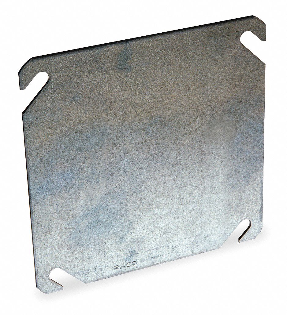 Galvanized Zinc Electrical Box Cover, Box Type: Square, Number of Gangs: 2, 4 1/8 in Width