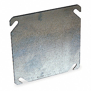 "Galvanized Zinc Electrical Box Cover, Box Type: Square, Number of Gangs: 1, 4-1/8"" Width"