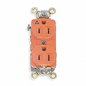 15A Industrial Environments Receptacle, Orange&#x3b; Tamper Resistant: No