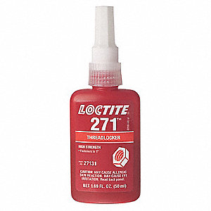 271 Series High-Strength Threadlocker, Red Liquid, 250mL Bottle
