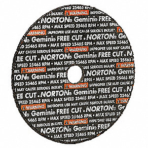 "3"" Type 1 Aluminum Oxide Abrasive Cut-Off Wheel, 3/8"" Arbor, 0.0625""-Thick, 25,465 Max. RPM"
