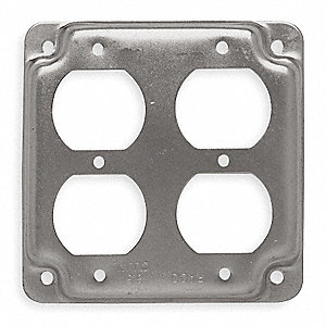 "Galvanized Zinc Electrical Box Cover, Box Type: Square, Number of Gangs: 2, 4"" Width, 4"" Length"