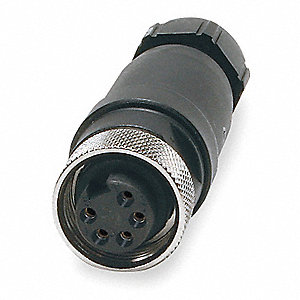 Internal Thread Connector, Number of Pins: 5, Female, Plug End: Straight, 600VAC/DC Max. Voltage