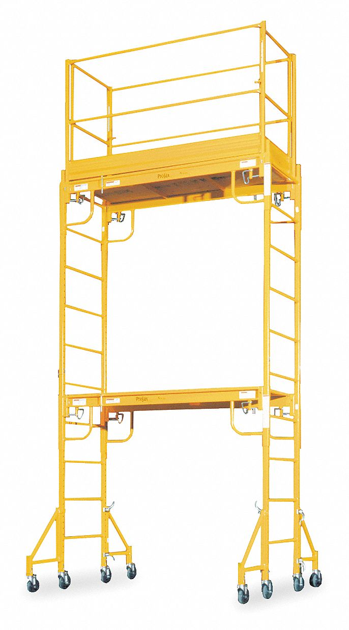 Scaffold Tower, Steel, 2 to 11 ft 6 in Platform Height, 18 ft Overall Height, 1,000 lb Load Capacity