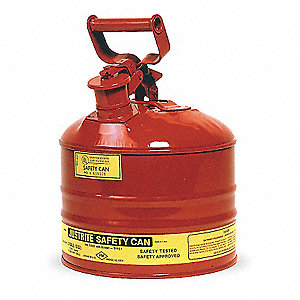 2-1/2 gal. Type I Safety Can, Used For Flammables, Red&#x3b; Includes Full Fisted Grip Handle