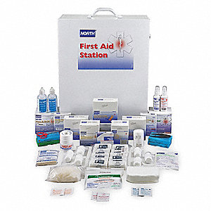 First Aid Kit, Cabinet, Steel Case Material, General Purpose, 200 People Served Per Kit