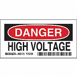 Danger Sign,3-1/2 x 5In,R and BK/WHT,HV