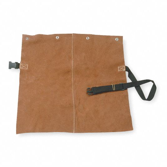 LeatherDetachable Welding Bib, Length 19 in, Webbing and Snap Buckle Closure Type