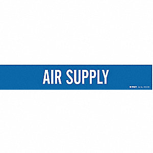 Pipe Marker, Air Supply, Bl, 8 In orGreater