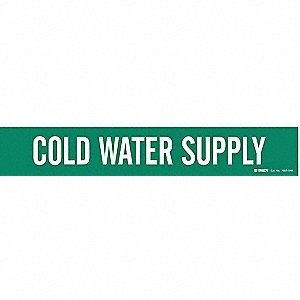 Pipe Mrkr,Cold Water Supply,8 In or Grtr