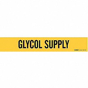 Pipe Marker, Glycol Supply, Y, 8 In or Lrgr