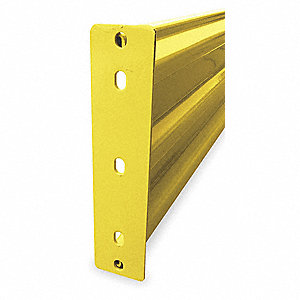 Safety Yellow Guard Rail, Steel, Bolt On Mounting Style, 4 ft. Nominal Length