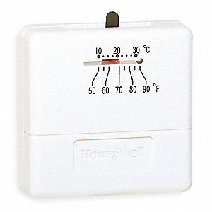Low V Mechanical Tstat,50 to 90F,White