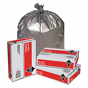 40 to 45 gal. LLDPE Super Heavy Trash Bags, Flat Pack, Silver, 50PK