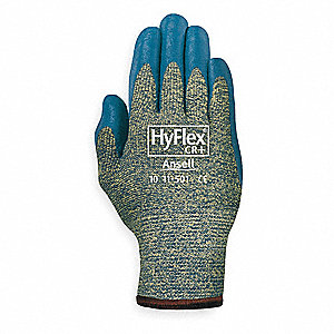 Nitrile Cut Resistant Gloves, ANSI/ISEA Cut Level A5, Kevlar® Lining, Gray, Green, L, PR 1