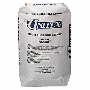 Grout, 50 lb. Size, Gray Color, Container Type: Bag
