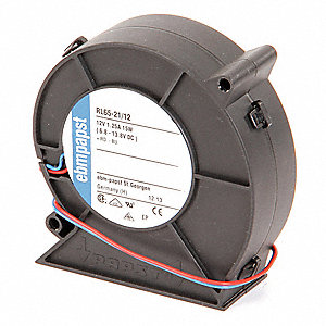 "Square Flatpack Axial Fan, 3-5/8"" Width, 3-7/8"" Height, 1-5/16"" Fan Dia., 12VDC Voltage"