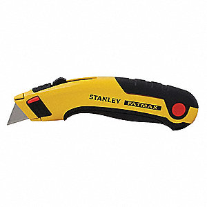"Black/Yellow,Carbon Steel Utility Knife,6-5/8"" Overall Length,Number of Blades Included: 5"