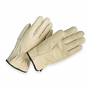 Cowhide Drivers Gloves, Shirred Wrist Cuff, Cream, Size: XS, Left and Right Hand