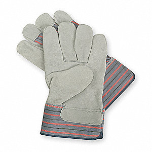 Cowhide Leather Palm Gloves with Safety Cuff, Gray, XL
