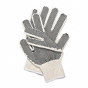 Natural/Black Ambidextrous Knit Gloves, Polyester/Cotton, Size L