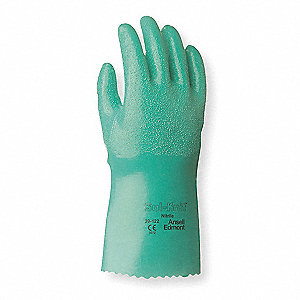 47.00 mil Nitrile Chemical Resistant Gloves, Interlock Knit Lining, Green, Size 8