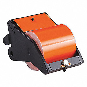 "Black/Orange Vinyl Film Label Tape Cartridge, Indoor/Outdoor Label Type, 90 ft. Length, 4"" Width"