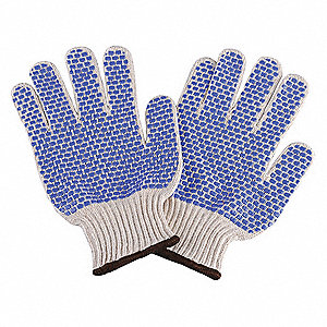 Knit Gloves, Polyester/Cotton Material, Knit Wrist Cuff, Natural/Blue, Glove Size: S