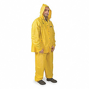 "Unisex Yellow PVC 3-Piece Rainsuit with Detachable Hood, Size: L, Fits Chest Size: 44"" to 46"""
