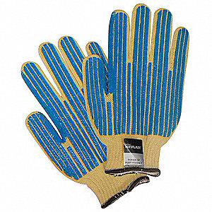 PVC Cut Resistant Gloves, ANSI/ISEA Cut Level 2, Kevlar® Lining, Blue, Yellow, L, PR 1