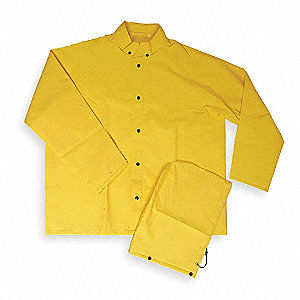 Flame Resistant Rain Jacket, PPE Category: 0, High Visibility: No, PVC, 3XL, Yellow