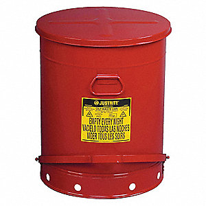 Floor Oily Waste Can, 21 gal., Galvanized Steel, Red, Foot Operated Self Closing