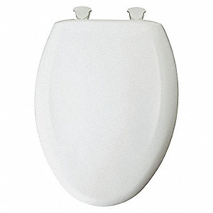 "Residential Slow Close Plastic Toilet Seat, Elongated, With Cover, 18-3/4"" Bolt to Seat Front"