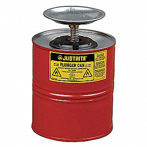 Red Plunger Can, Galvanized Steel, 1 gal. Capacity, Dasher Plate Dia. 5""