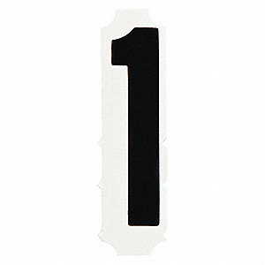 "Number Label, 1, Black, 4"" Character Height, 10 PK"