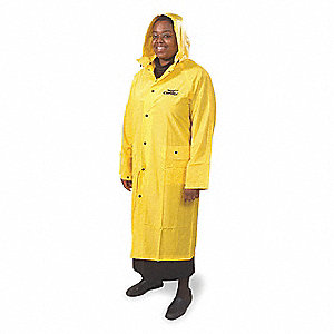 "Unisex Yellow PVC Rain Coat with Detachable Hood, Size 2XL, Fits Chest Size 56-1/2"", 49"" Jacket Leng"