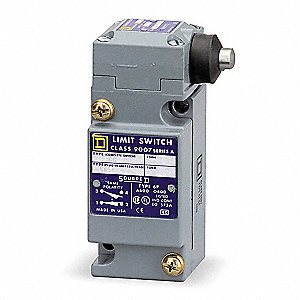 Plunger Heavy Duty Limit Switch&#x3b; Location: Side, Contact Form: 2NC/2NO, Horizontal Movement