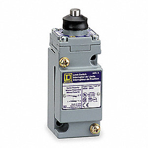 Heavy Duty Limit Switch, 600VAC/DC Voltage Rating, 10 Amps, Top Actuator Location