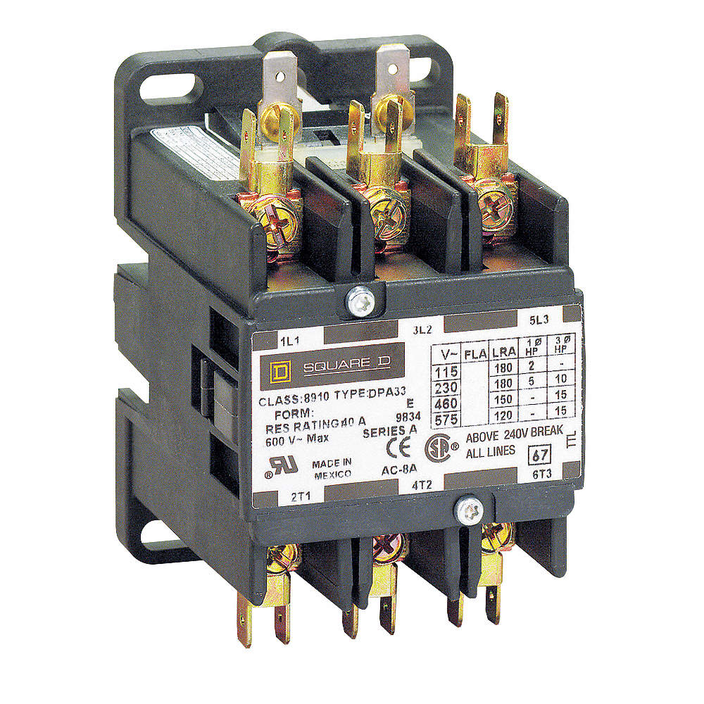 SQUARE D 8910DPA33V09 208//240VAC Non-Reversing Definite Purpose Contactor 3P 30A