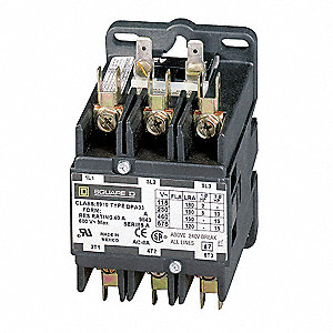 120VAC Open Definite Purpose Contactor, 50 Full Load Amps-Inductive, 3 Number of Poles