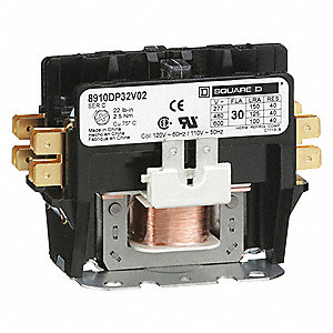 120VAC Definite Purpose Contactor; No. of Poles 2, Reversing: No, 30 Full Load Amps-Inductive