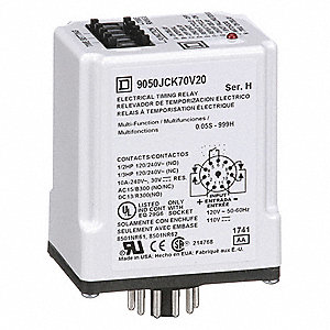 Multi-Function Time Delay Relay, 120VAC Coil Volts, 10A Contact Amp Rating (Resistive), Contact Form