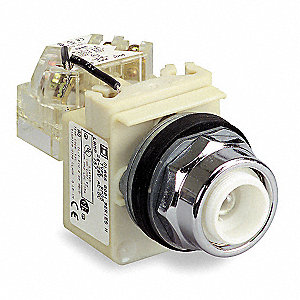 Push to Test Pilot Light Without Lens, 30mm, 240VAC Voltage, Lamp Type: Incandescent