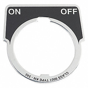 30mm 1/2 Round On-Off Legend Plate, Aluminum, Black