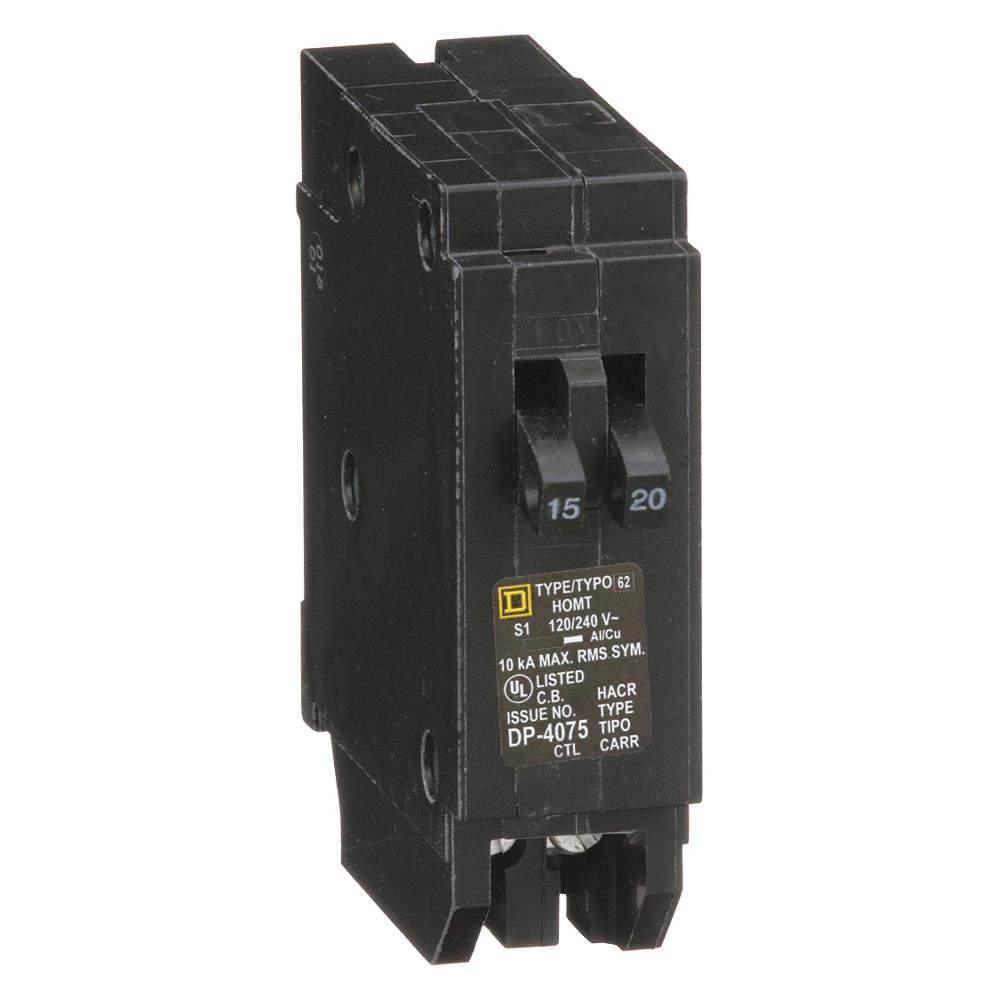SQUARE D Plug In Circuit Breaker, HOM, Number of Poles 1, 15/20 Amps ...