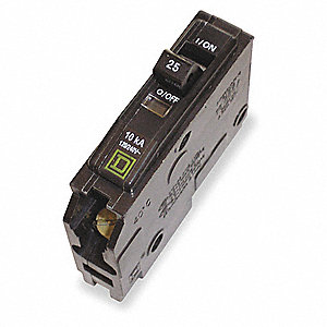 Plug In Circuit Breaker, QO, Number of Poles 1, 25 Amps, 120/240VAC, Standard