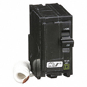 Plug In Circuit Breaker, QO, Number of Poles 2, 20 Amps, 120/240VAC, Switched Neutral
