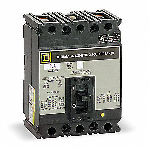 Circuit Breaker,  100 Amps,  Number of Poles:  3,  600VAC AC Voltage Rating